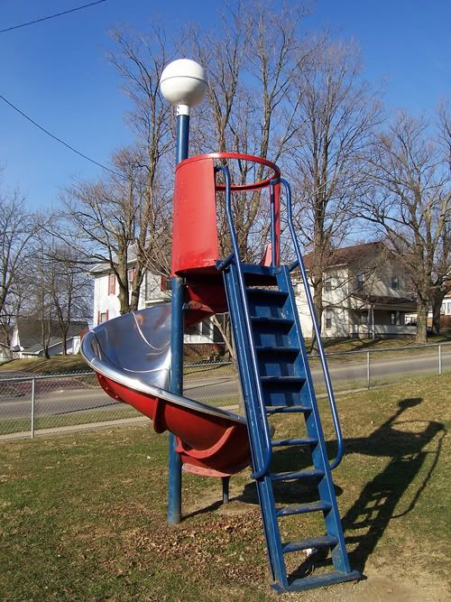 Metal slides that got really HOT in the summer!