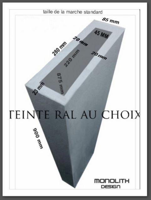 caisson sur mesure aspect béton ou résine teinte RAL au choix