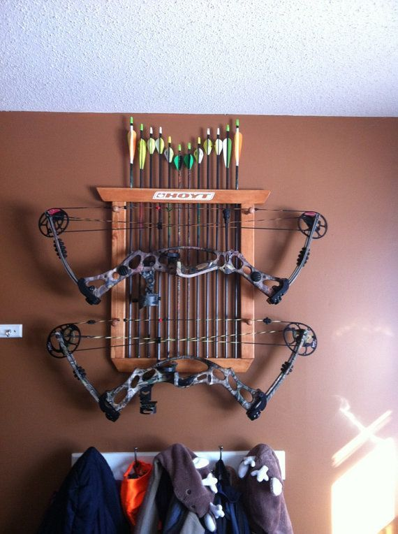 This rack will hold two compound, recurve, or long bows And up to a dozen arrows It is a very sturdy bow holder A great way to display your