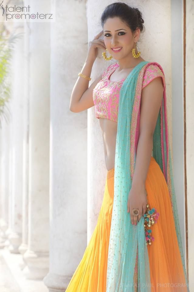 Canary Yellow #Lehenga With Pink #Blouse And Azure Dupatta.