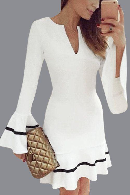 White V-neck Flared Sleeves Mini Dress - US$19.95 -YOINS