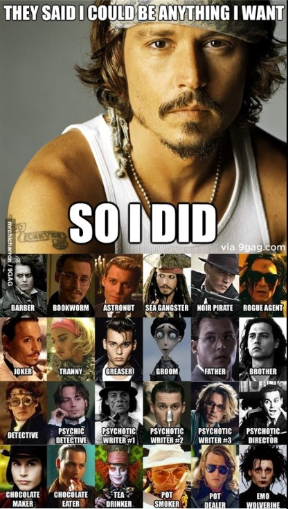 Haha so true!! johnny depp and his various characters.