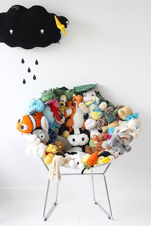 A DIY stuffed animal chair for the kid's room.
