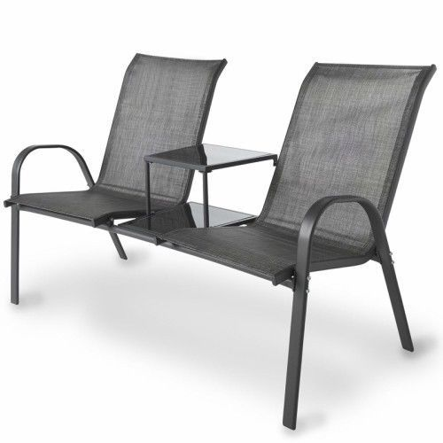 Garden Companion Set Patio Love Seat Textoline Outdoor Fufniture Glass Top Table #Unbranded