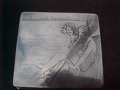 Art Deco Silver Plate Cigarette Case Ladies in Swimming Costumes 1920'S   eBay