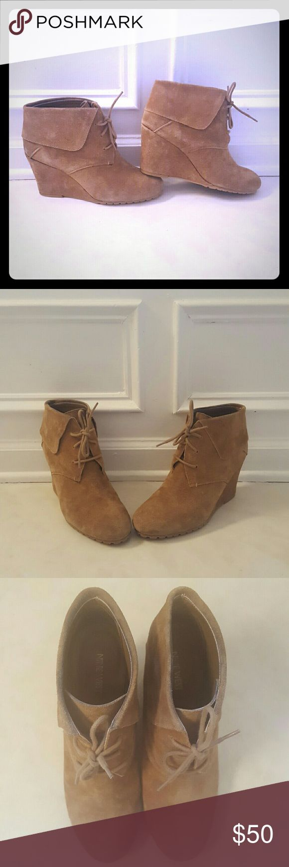 Nine West Wedge Ankle Boots Tan color wedge ankle boots Nine West Shoes Ankle Boots & Booties