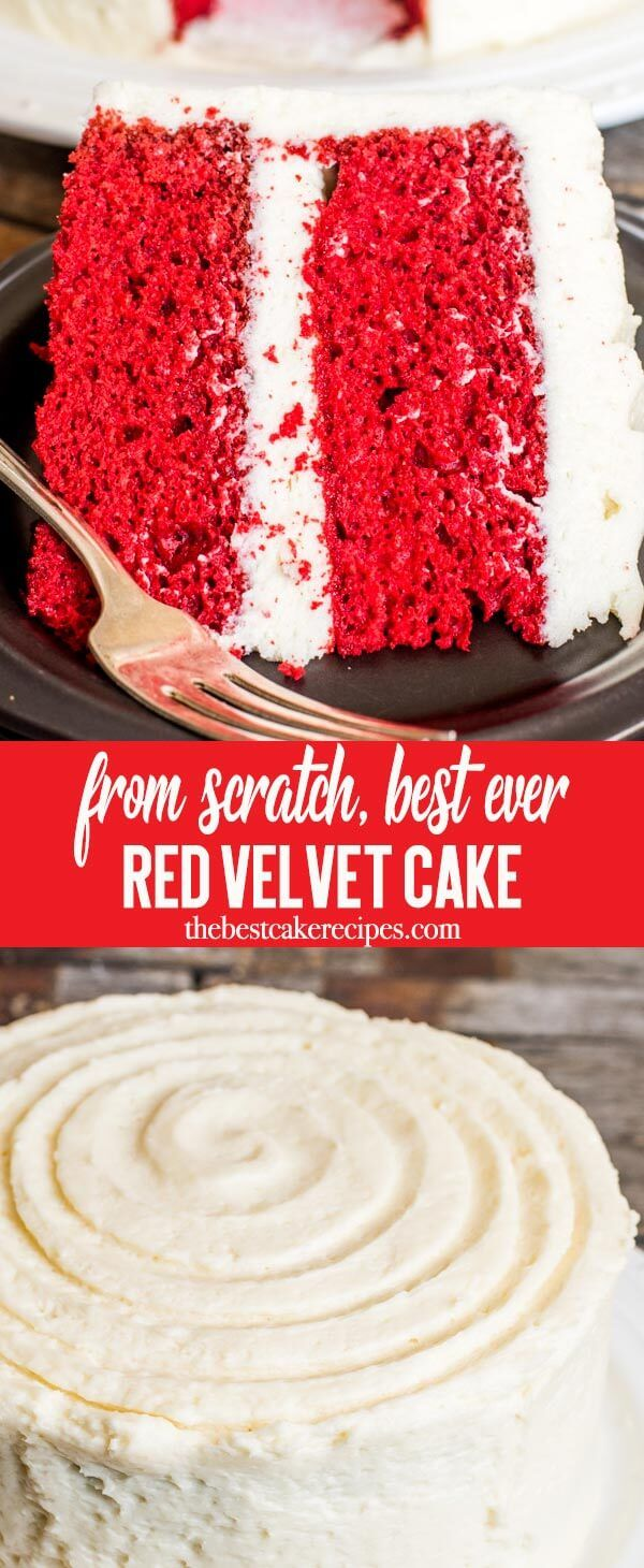 Vibrantly colored homemade red velvet cake is kept moist with buttermilk. Frost the from scratch cake with cooked flour frosting for a lightly sweetened cake. via @thebestcakerecipes