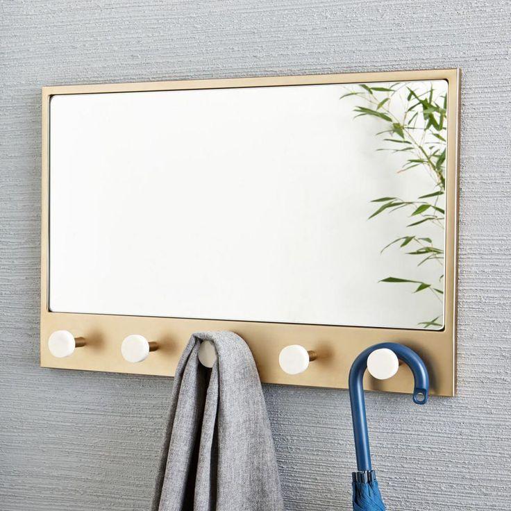 Deco Entryway Mirror - Antique Brass/Marble