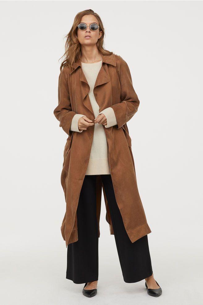 H&M Cupro blend Trenchcoat Beige in 2019 | Sleeves, Belt