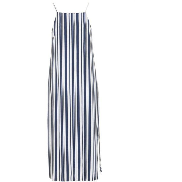 TOPSHOP Deck Chair Striped Midi Dress (195 BRL) ❤ liked on Polyvore featuring dresses, topshop, navy blue, white midi dress, striped midi dress, striped dresses, leather dresses and beach dresses