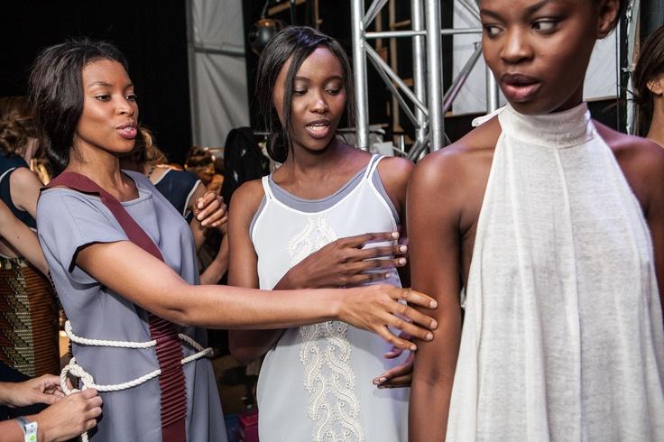 Models wearing Kottin & Twill backstage at SA Fashion Week.