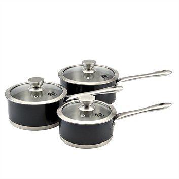 Pots, Pans & Saucepans - Briscoes - Simon Gault Black 3Pce Saucepan Set