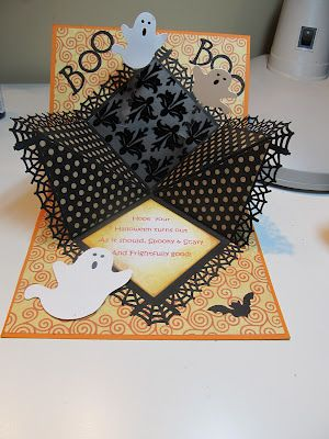 Pop up card ~ Inside is a 6 inch square, score at 3 inches, turn & score at 3 inches again. The last score is on the diagonal.