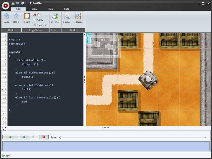 Met RoboMind kun je een robot door ruimte laten lopen. Dit doe je dmv hem te programmeren. Het is online. Dus je hoeft geen software te installeren.