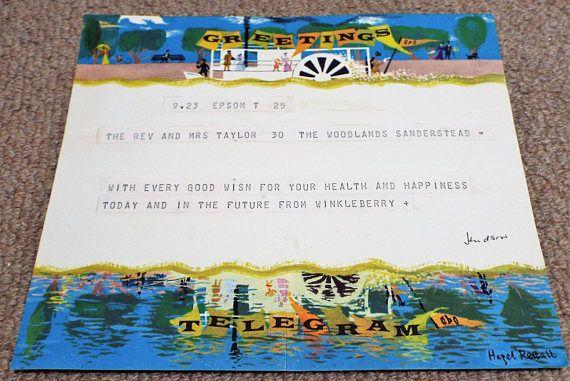Vintage 1960 GPO Greetings Telegram  Post Office  Hazel