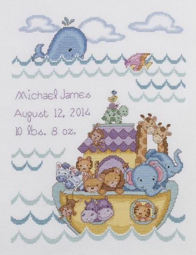 click here to view larger image of Noah's Ark Birth Record (counted cross stitch kit)