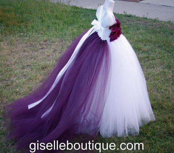 Flower girl dress White and Eggplant Train and Flowers TuTu Dress.baby tutu dress, toddler tutu dress, wedding, birthday on Etsy, $90.00