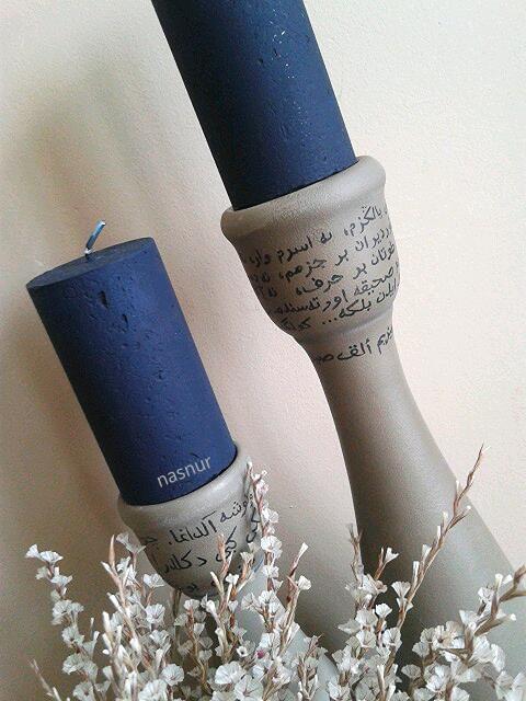 seramik şamdan boyama handpaint candlestick ceramic candle arabic draw handmade