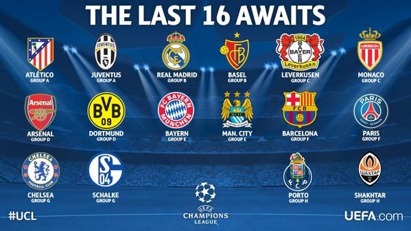 Chelsea, Manchester City and Arsenal all make it to the Champions League Round of 16