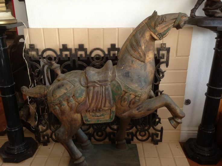 Antique huge chinese carved wood horse