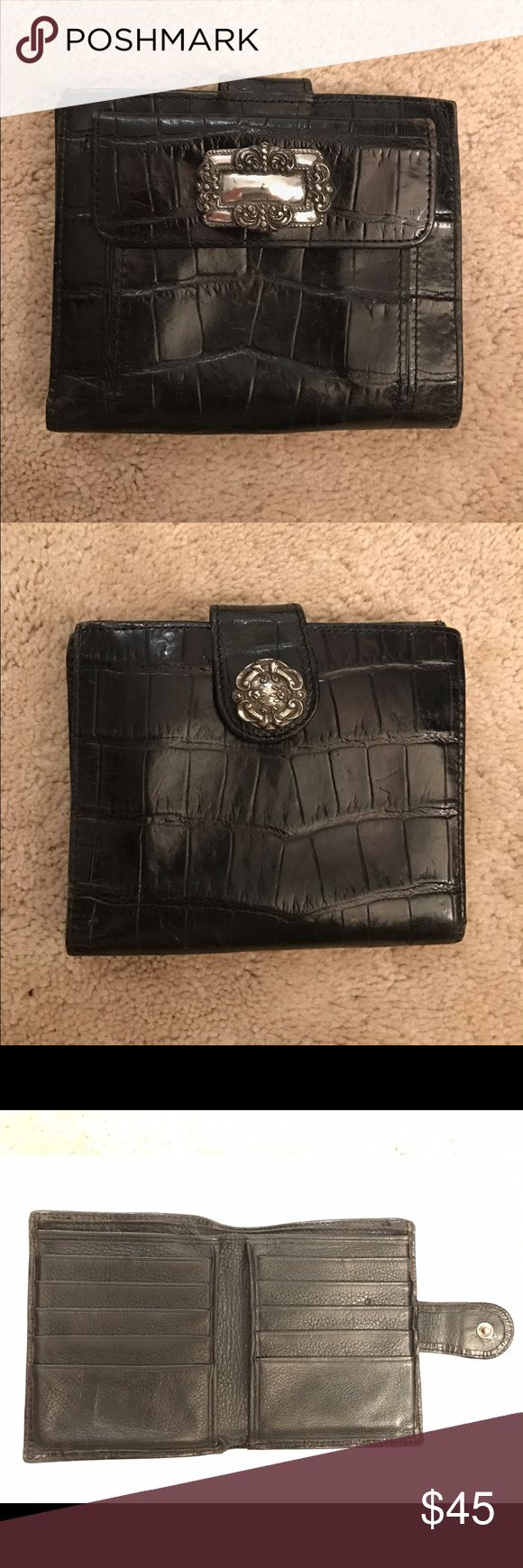 Brighton Black Croco Embossed Leather Wallet Jewelry like accents, 5x4.5x0.5, 10 credit card slots, 2 interior pockets plus 2 bill pockets, exterior snap closure, exterior coin pocket with snap closure. Barely used Brighton Bags Wallets
