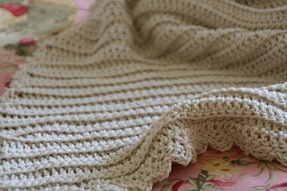 classic baby blanket. double crochet in back loop to create a ribbed effect. Also a nice elegant edging added. Very easy for beginning crocheters.
