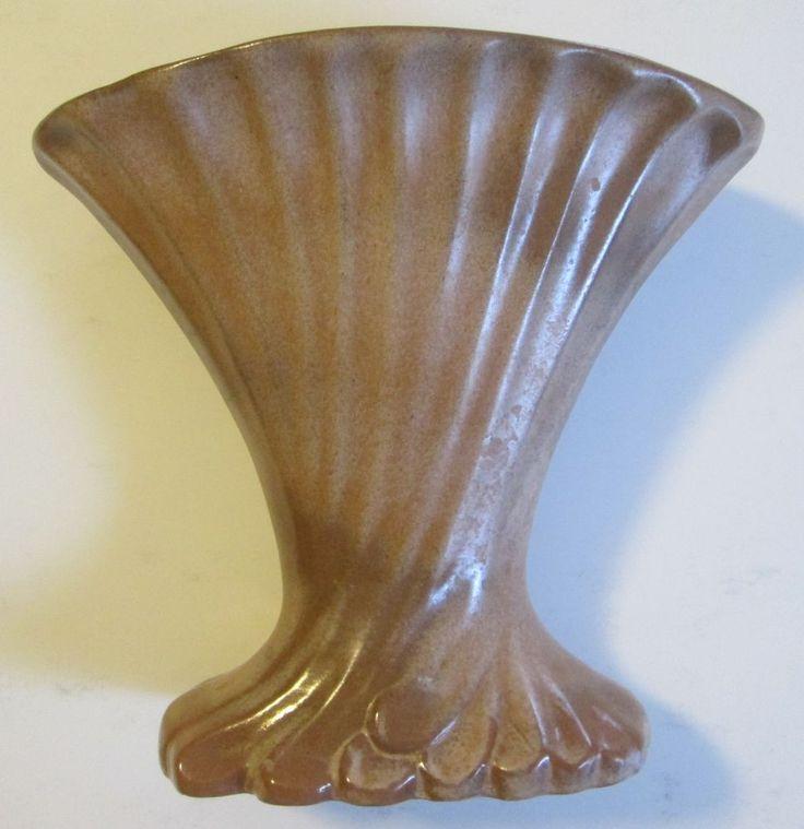 fan vase. frankoma fan vase ( in brown satin, ca. c