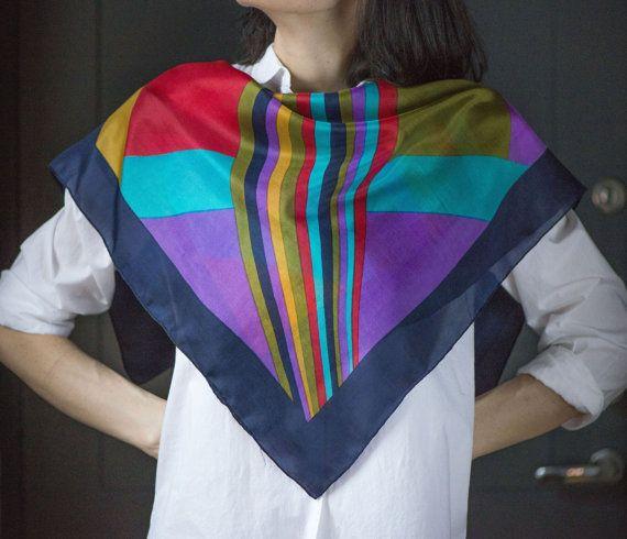 Multicolor pure silk shawl  bright square scarf light by 4Rooms