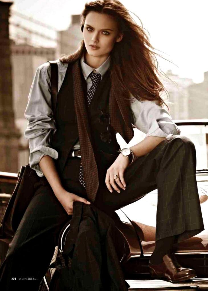 Love the menswear look. zuzana gregorova by jordan joshua for elle russia