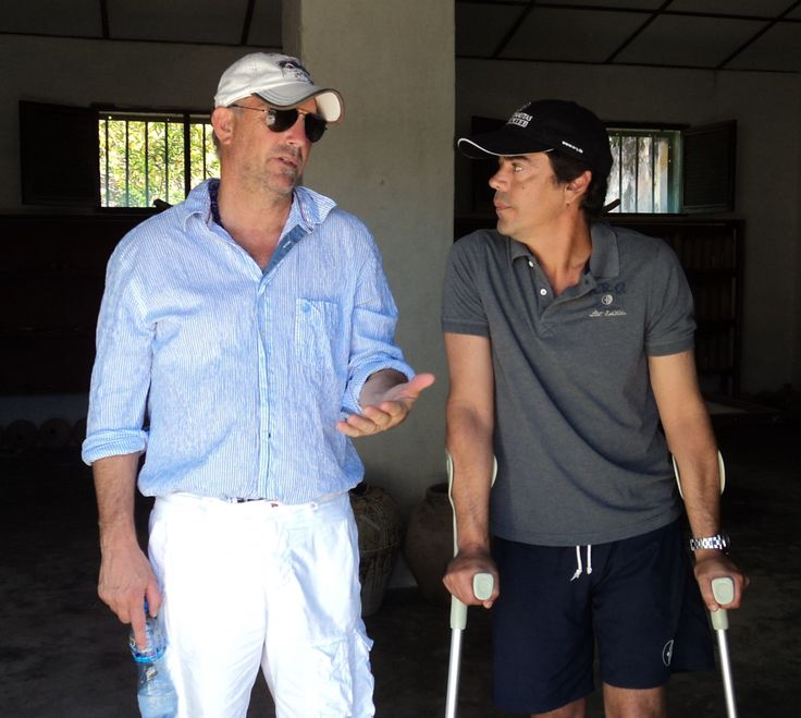 Alex Mirabal with Kevin Costner in Mozambique