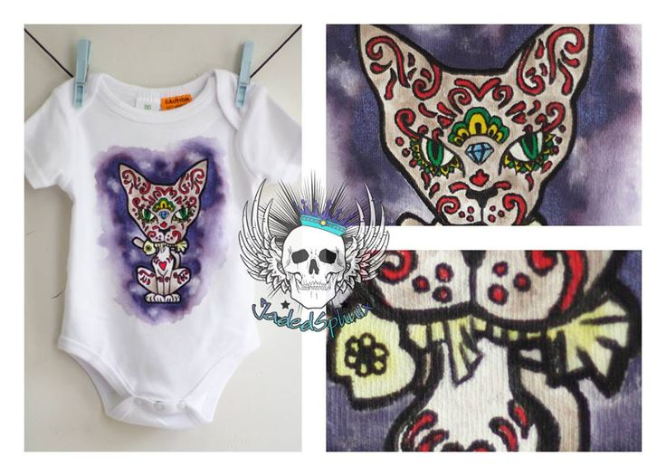 Día del gato muerto/Sugar Cat Onesie   Painted with fabric paints Size 00 (To fit 3 - 6months)