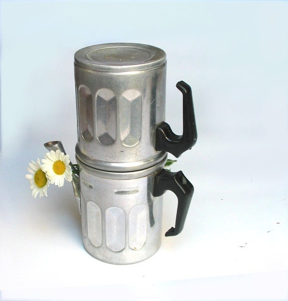 Vintage aluminum coffee maker - Neapolitan coffee maker - 6 cups - collectibles - 1940s - made ...