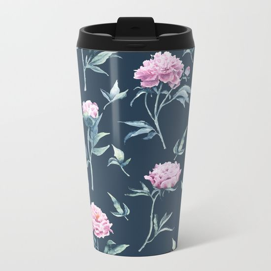 Rows of watercolor peonies seamless pattern on a dark blue background Metal Travel Mug $24.00