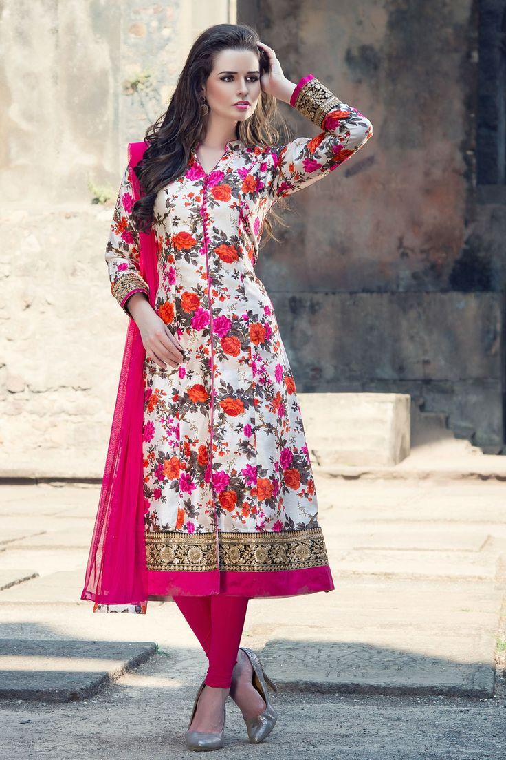 Multi-colour tussar silk Straight Cut kameez -SL3232 - Salwar Kameez