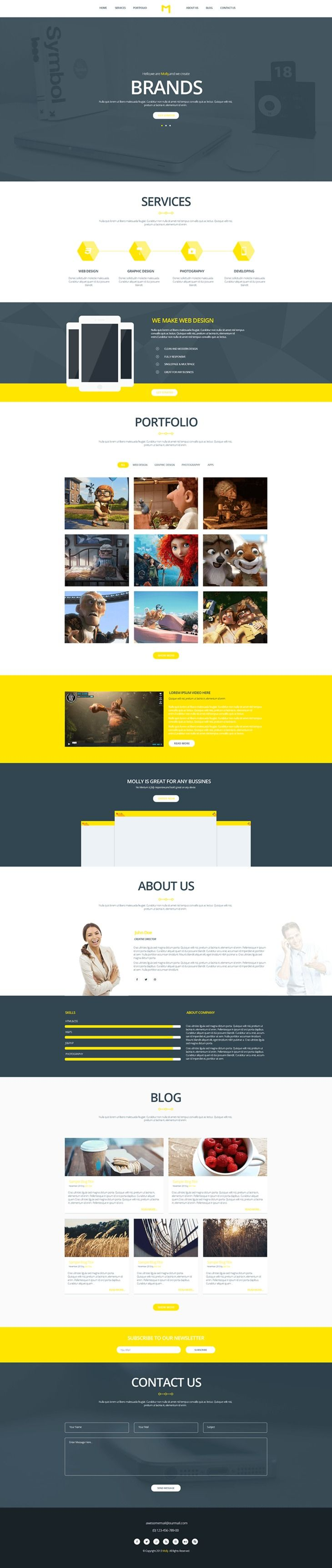 Molly - Free PSD Creative Single Webpage Template preview