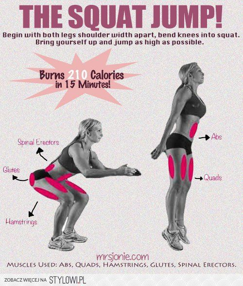 Squat with Jump - Burn 210 calories in 15 minutes.