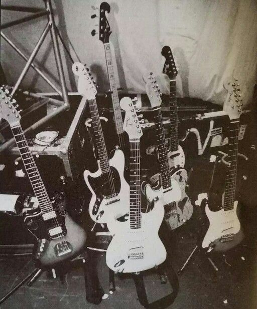 Kurt Cobain's guitars. I found this pic in Pinterest...I hope these are truely his guitars... but I don't have any proof...