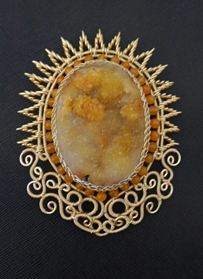 Spiky Brooch with natural druzy stone