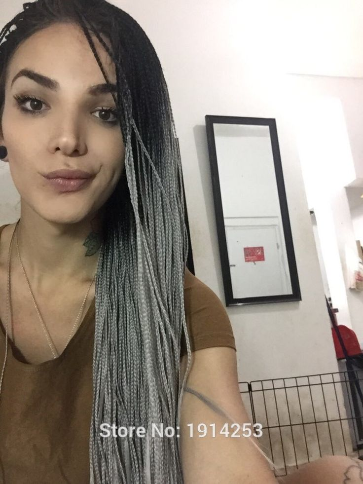 56.42$  Watch here - http://aliqwr.worldwells.pw/go.php?t=32744047275 - synthetic lace front wig for Africa American black women ombre black to gray with heat reisistant fiber dark root micro braid 56.42$