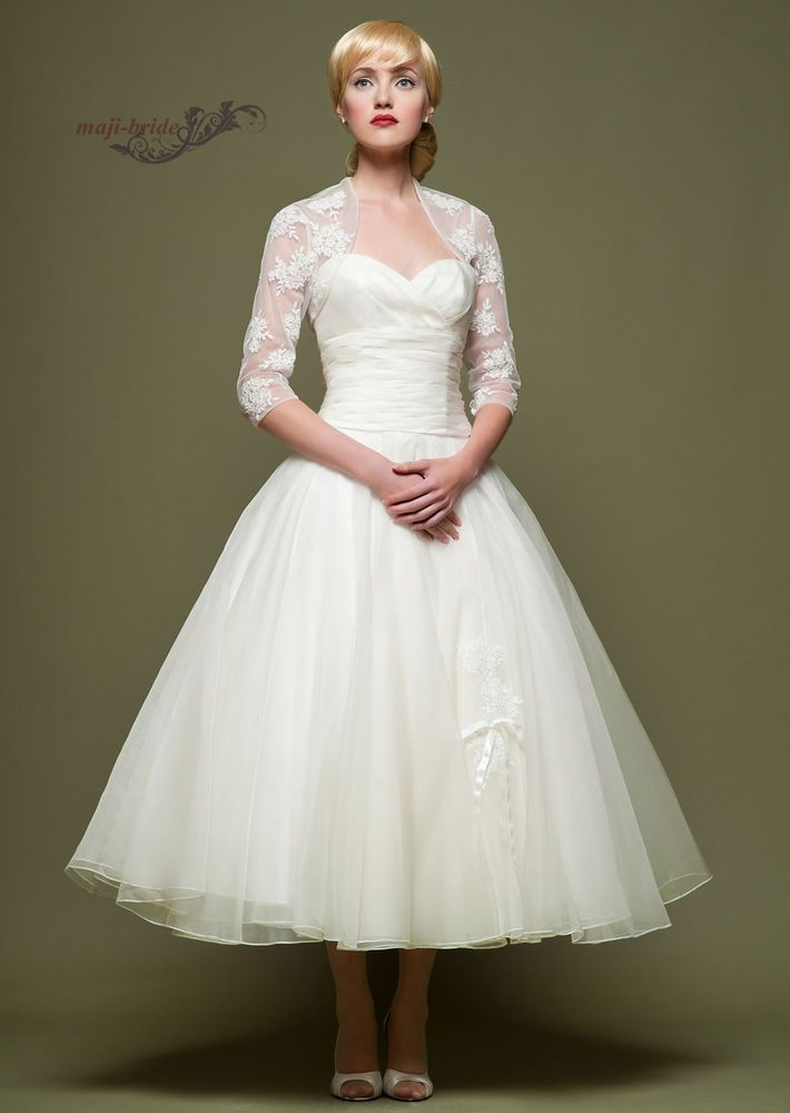 13f11a76624bc Details about Short 3/4 sleeve Vintage Tea length White Ivory Lace Wedding  Dresses 4-18++   Vintage Wedding Dress Love   Wedding dress organza, ...