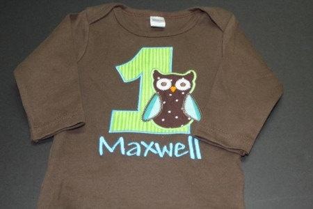 Custom Boy Owl Birthday Shirt or Onesie Personalized or Monogrammed by Brownies n Butterflies. $19.99, via Etsy.