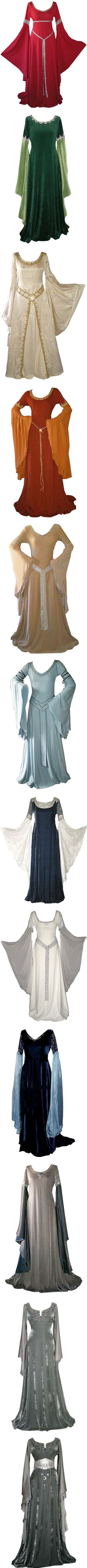 """""""Medieval Gowns I"""" by savagedamsel ❤ liked on Polyvore. Some of these are close to Period and they all have dreamy sleeves"""