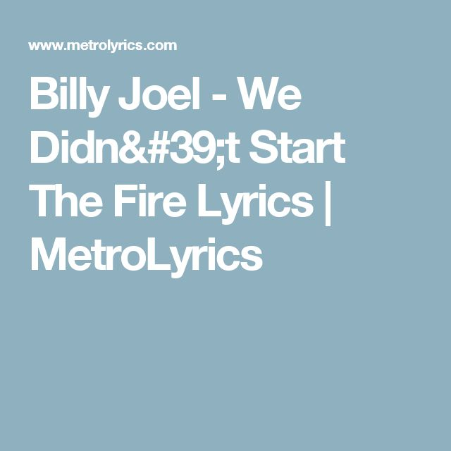 We Didn T Start The Fire Billy Joel: 21 Best Music Images On Pinterest