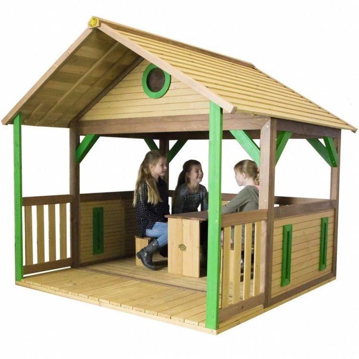Kids Outdoor Playhouse Garden Play Backyard Wooden Activity Lodge Floor Camping #KidsOutdoorPlayhouse