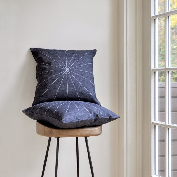 Geometric pillow cover  minimal star pattern  by GrayGreenGoods