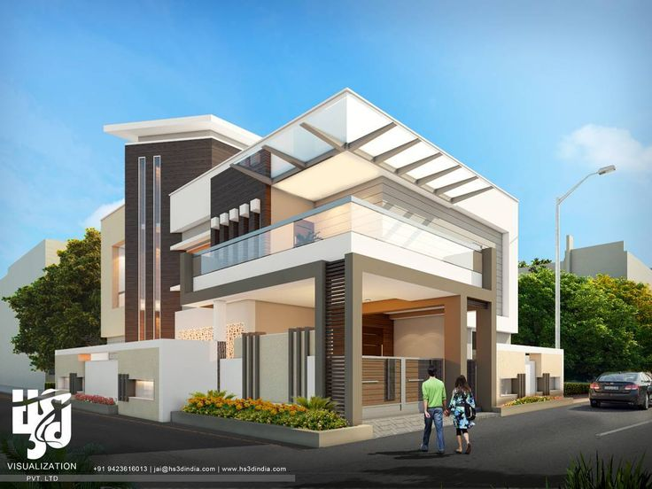 MODERN BUNGALOW Exteriordesign 3DRENDER DAY VIEW BY Hs3dindia