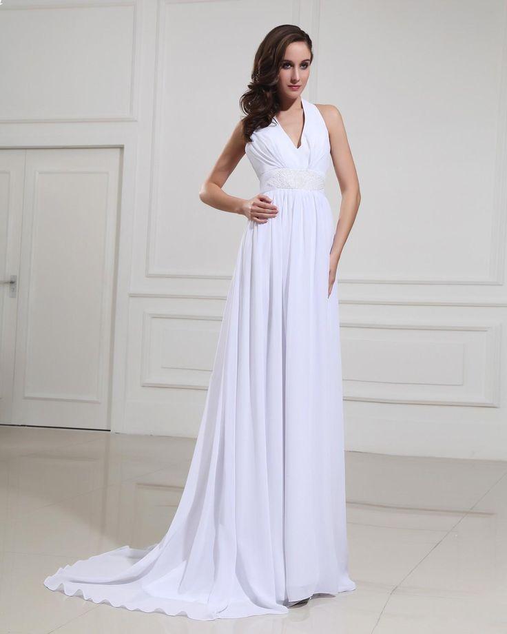 Chiffon Halter V Neck Empire Bridal Gown Wedding DressStyle No0bg02124
