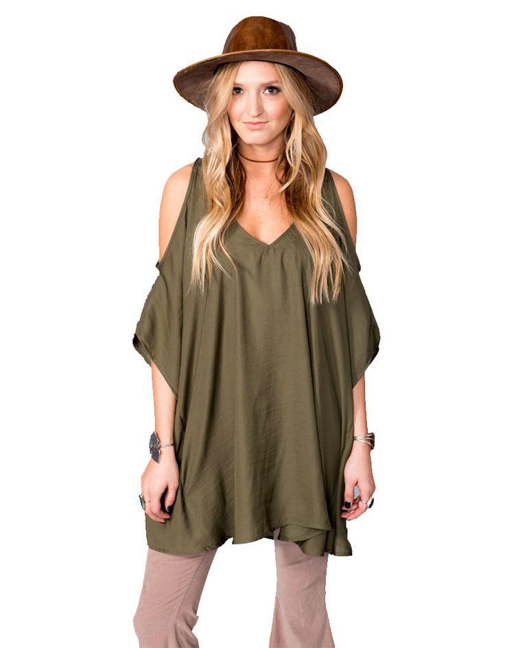 Show Me Your Mumu Peta-Boo Tunic in Olive Silky Satin