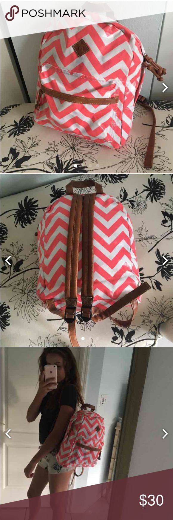 Chevron backpack Glossy Pink & White chevron backpack with beige straps Bags Backpacks
