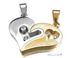 Partnerketten Herz I LOVE YOU  Gold Silber Zirkonia  inkl. Ketten im  Etui GRAVUR OPTION